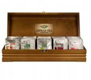 Шкатулка для чая Ahmad брендированная, деревянная с делениями