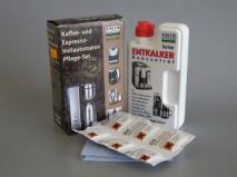 Набор для чистки эспрессо-машин (жидкость 250 мл. для декальцинации + таблетки для чистки гидросистемы 6 шт.+ салфетка)